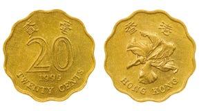 20 centavos 1995 acuñan aislado en el fondo blanco, Hong Kong Imagenes de archivo