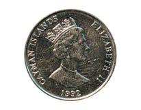 25 centavos acuñan, goleta de dos palos del caimán, Islas Caimán Rever Fotografía de archivo