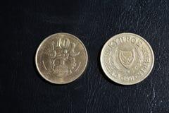 Centavos de Chipre - moedas de várias denominações Fotos de Stock Royalty Free
