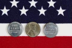 Centavos del acero de la Segunda Guerra Mundial de Estados Unidos Foto de archivo