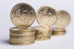50 centavos en pila Foto de archivo