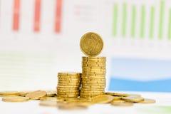 Centavos euro y gráfico Foto de archivo