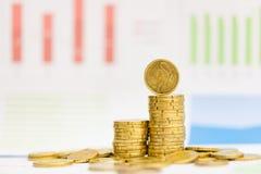 Centavos euro y gráfico Fotografía de archivo libre de regalías