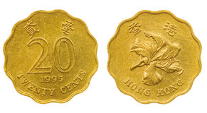 20 centavos 1995 inventam isolado no fundo branco, Hong Kong Imagens de Stock