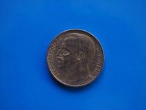 50 centavos inventam, reino de Itália sobre o azul Fotografia de Stock Royalty Free