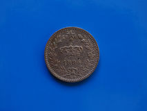 20 centavos inventam, reino de Itália sobre o azul Foto de Stock Royalty Free