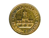 25 Centavos-muntstuk Bank van Argentinië Omgekeerde, 1993 Stock Fotografie