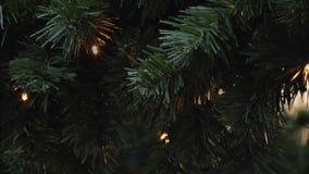 Centelleo de las lámparas en picea artificial Fondo del Año Nuevo y de la Navidad Guirnaldas del LED almacen de metraje de vídeo