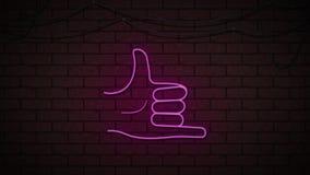 Centelleo de neón del dedo meñique de la mano en la pared oscura libre illustration