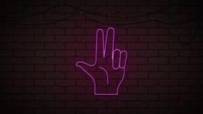 Centelleo de neón del finger de la mano tres en la pared oscura libre illustration