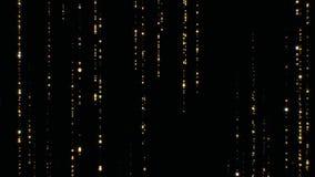 Centelleo descendente de las partículas hermosas de la lluvia de oro en el fondo negro inconsútil Animación colocada 3d del polvo libre illustration