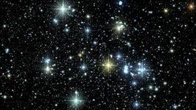 Centelleo estrellado colorido del cielo en el fondo V5 del movimiento de Loopable de la noche almacen de metraje de vídeo