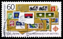 Centen?rio da cole??o dos selos postais para o Bethel, serie de Bethel Charity, cerca de 1988 fotos de stock