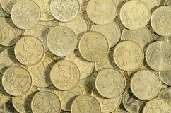 centen 50-EURO coins bakgrund Arkivfoto