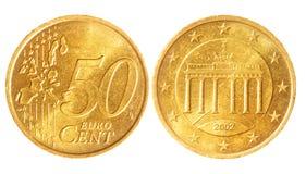 centen coins euro femtio Arkivbilder