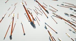 Centenares de flechas que vuelan a través del cielo Foto de archivo libre de regalías