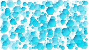 Centenares de formas del hexágono, fondos azules abstractos stock de ilustración