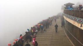 Centenares de fotógrafos en la niebla que espera para tomar las fotos en la terraza del arroz-arroz de Yuanyang metrajes