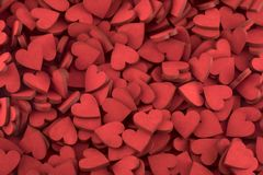Centenares de pequeños corazones rojos Foto de archivo