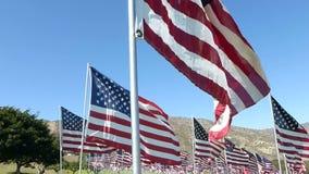 Centenares estabilizados del recorrido de banderas americanas (parte #3) almacen de metraje de vídeo