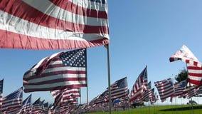 Centenares estabilizados del recorrido de banderas americanas (parte #1) almacen de metraje de vídeo