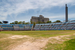 Centenario Football Stadium, Montevideo, Uruguay. Montevideo, Uruguay - December 15, 2012: Trampled grass of the football field at the Centenario Football Stock Photos