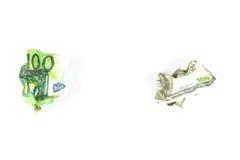 Centenas amarrotadas dólar e euro Fotografia de Stock