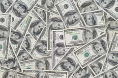 Centenas de Benjamin Franklin novo 100 notas de dólar Imagens de Stock Royalty Free