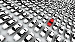 Centenas de carros, um vermelho! Imagens de Stock Royalty Free