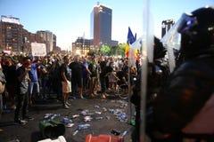 Centenas feridas em protestos de Romênia Foto de Stock