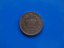 20 centenmuntstuk, Koninkrijk van Italië over blauw Royalty-vrije Stock Foto