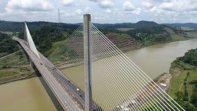 Centennial Bridge across the Panama Canal. Aerial view of Centennial Bridge across the Panama Canal looking towards the South side of Panama royalty free stock photos
