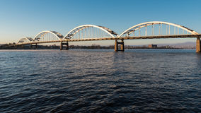 Centennial Bridge Crosses the Mississippi River. From Davenport, Iowa to Moline, Illinois Royalty Free Stock Images