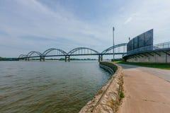 Centennial Bridge over Mississippi River in Davenport, Iowa, USA. View of Centennial Bridge over Mississippi River in Davenport, Iowa, USA stock photography