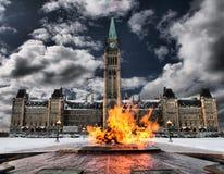 Centennial flame. Canada's centennial flame and parliament building stock photo