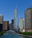 Centennial Fountain Water Arc. This is a Spring picture of the Chicago River skyline featuring the water arc from the Centennial Fountain over the Chicago River Royalty Free Stock Image