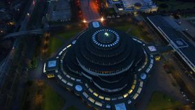 Centennial Hall in Wroclaw. Aerial: Centennial Hall in Wroclaw at night time stock footage