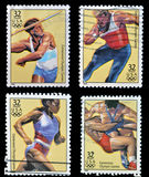 Centennial olympic games. Collection stamps dedicated to centennial olympic games Royalty Free Stock Photos