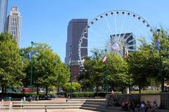 Centennial Olympic Park, Atlanta, GA. Centennial Olympic Park in downtown Atlanta, GA with Skyview Ferris Wheel and Westin Peachtree Plaza in the background stock photography