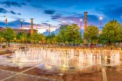 Centennial Olympic Park Atlanta Georgia. ATLANTA, GEORGIA - AUGUST 21, 2016: Visitors play in Centennial Olympic Park`s landmark fountains. The Park was built Royalty Free Stock Images