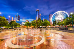 Centennial Olympic Park in Atlanta. ATLANTA, GEORGIA - AUGUST 21, 2016: Visitors play in Centennial Olympic Park's landmark fountains. The Park was built for the Stock Image