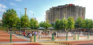 Centennial Olympic Park and CNN center Atlanta royalty free stock images