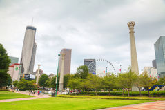 Centennial Olympic park with people in Atlanta, GA Stock Photography