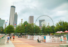 Centennial Olympic park with people in Atlanta, GA Royalty Free Stock Photo