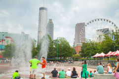 Centennial Olympic park with people in Atlanta, GA Royalty Free Stock Image