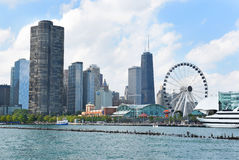 Centennial Wheel at Navy Pier. CHICAGO, ILLINOIS - SEPTEMBER 5, 2016: Centennial Wheel at Navy Pier. The new attraction and the Chicago skyline seen from Lake royalty free stock photo