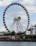 Centennial Wheel. This is a Summer picture of the iconic Centennial Wheel at Navy Pier on Lake Michigan in Chicago, Illinois in Cook County. The Ferris Wheel stock photos
