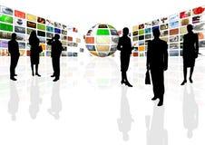 Center affärspresentation för multimedior stock illustrationer