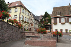 Center of Alsace village, France. Market Place Alsace village, France, Alsace Vine Route Stock Photos