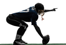 Center american football player man silhouette Stock Images